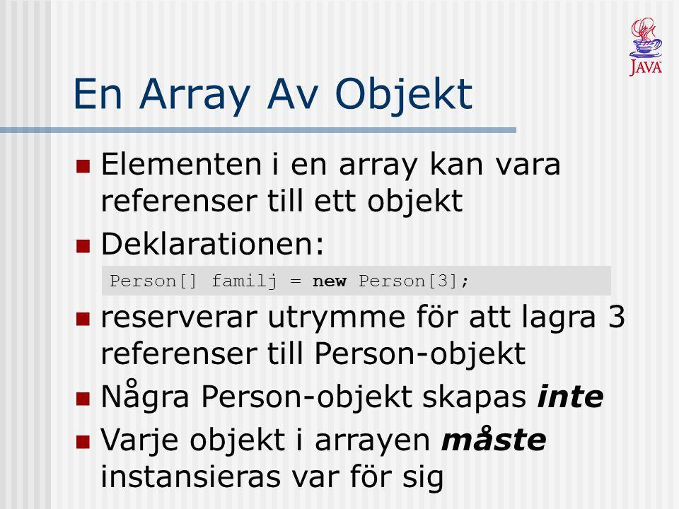 En Array Av Objekt Elementen i en array kan vara referenser till ett objekt. Deklarationen: Person[] familj = new Person[3];